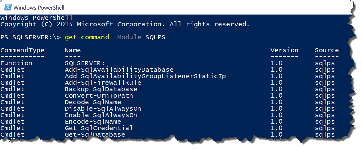 powershell module sqlps